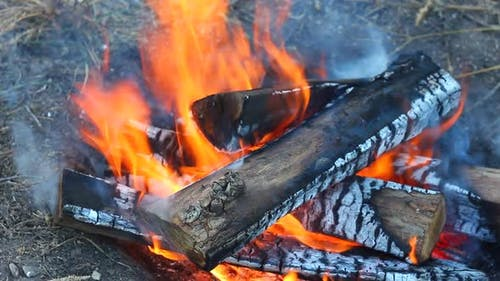 Closeup Burning of Wooden Logs with a Small Fire and Small Sparks and Glowing Coals Scattering