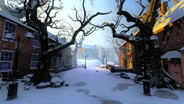 Winter Street With Stone Houses