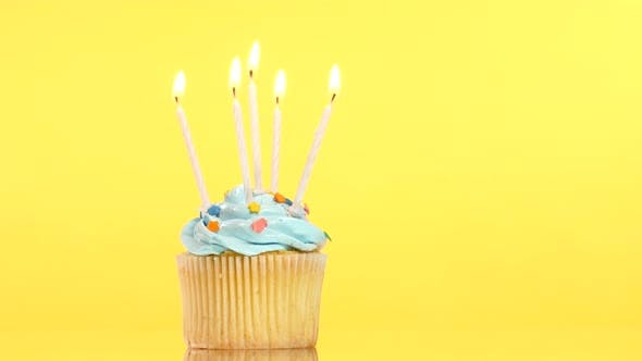 Thumbnail for Tasty Birthday Cupcake with Five Candle, on Yellow Background