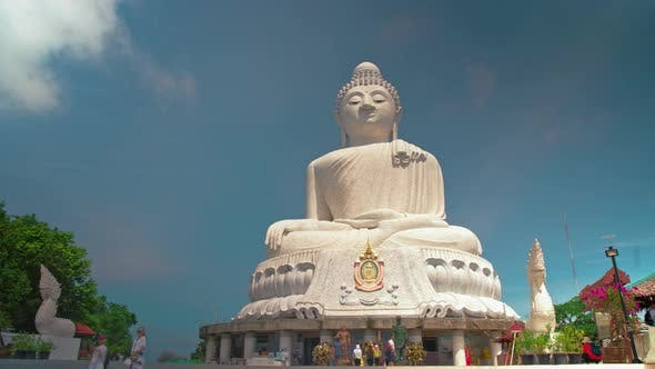 Thumbnail for Big Buddha, the religious shrine of Asia. temple statue. timelapse