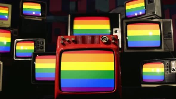 Colorful Rainbow Gay Pride Flag on Retro TVs. 4K Version.