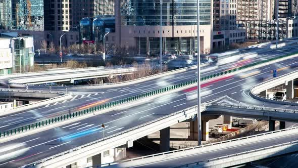 Thumbnail for Chinese Road Interchange with Traffic in Beijing Timelapse