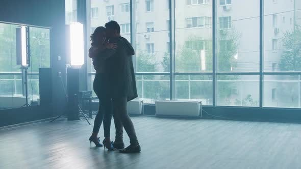 Thumbnail for A Beautiful Couple Performing Kizomba Dance Elements in a Dance Studio