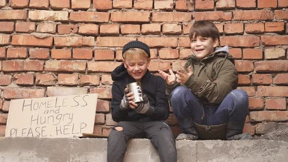 Children Beggars Want People To Help Them Give Shelter or Money Donation