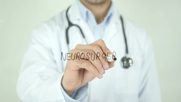 Thumbnail for Neurosurgery, Doctor Writing on Transparent Screen