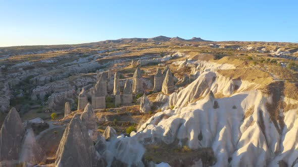 Aerial View Volcano Formation of Fairy Chimneys Goreme National Park Nevsehir Province Anatolia