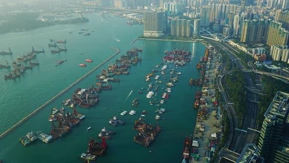 Thumbnail for Hong Kong Aerial View with Boat and Sea