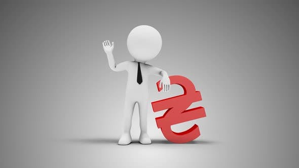 Thumbnail for 3D Man Waving Hand Leaned To Hryvnia Sign 02 Loop with Alpha