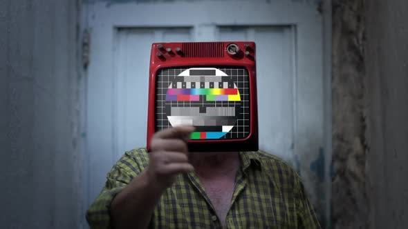 Thumbnail for Retro TV Man with Retro Color Bars on the Head.