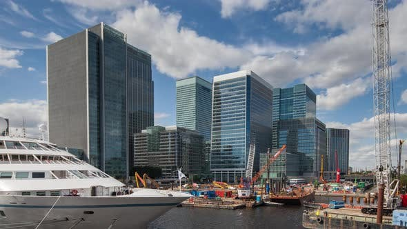 Thumbnail for Docklands canary wharf london finance city money business offices yacht