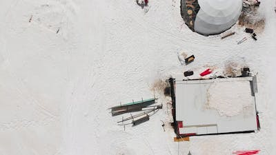Birds Eye View Fun Park With Skiers Chilling