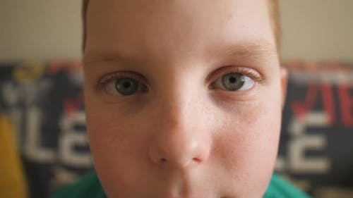Portrait of Little Despairing Red-haired Boy with Freckles Looking Into Camera Indoor. Close Up Male