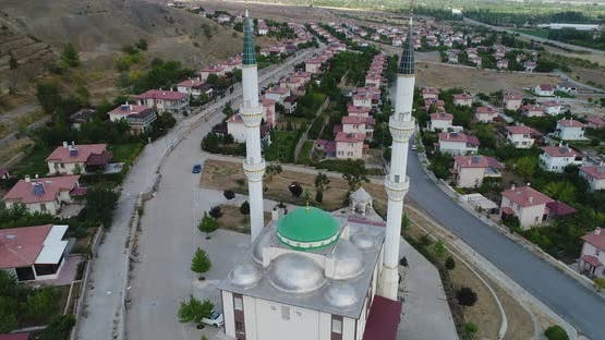 Mosque And Minarets Aerial View