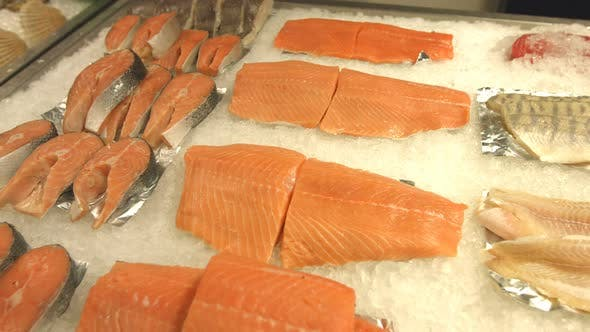 Seafood. Salmon Steaks and Salmon Fillet