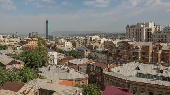 Thumbnail for Panorama Old Part Tbilisi City Georgia with Lot Tile Roofs and Modern Constructions, Skyscrapers