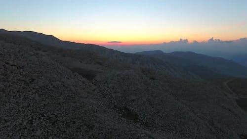Before Sunrise of Barren Mountain Topography