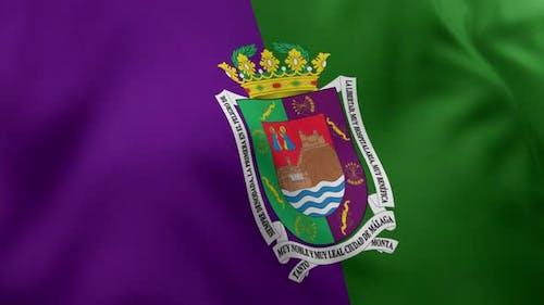 Malaga City Flag (Spain) - 4K