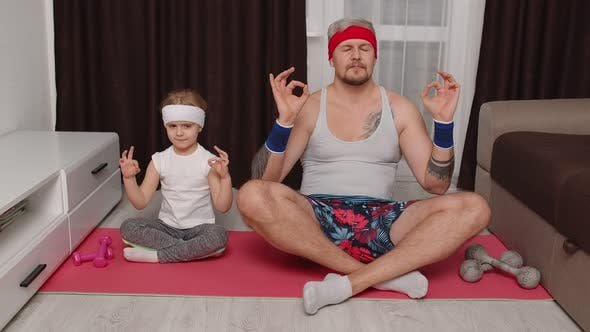 Thumbnail for Retro Style Father and Cute Little Kid Daughter Meditating in Lotus Pose at Home Yoga Exercises