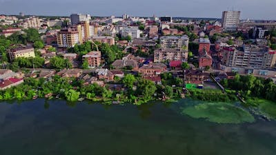 Aerial Landscape of Small Town