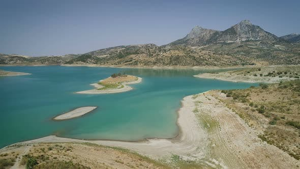 Thumbnail for Aerial View Of Green Water Lake In Dry Area