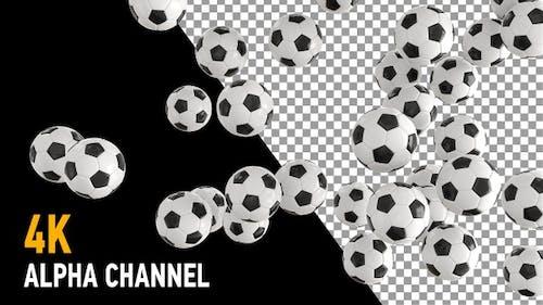 Football soccer balls transition on alpha
