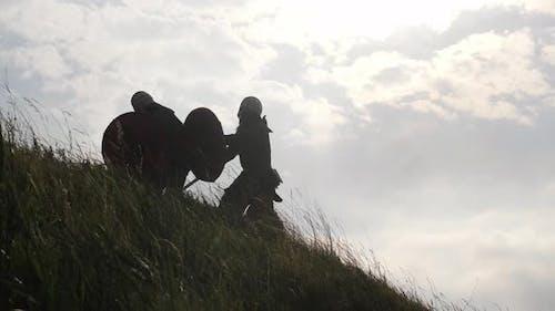 Siegreicher Wikinger im Kampf