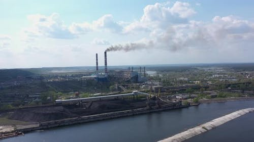Power Plant Emissions. Environmental Pollution. Factory Pipe Polluting Air