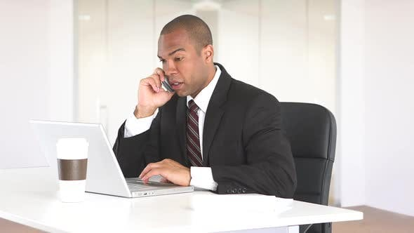 Thumbnail for Male executive at desk with laptop and talking on cell phone