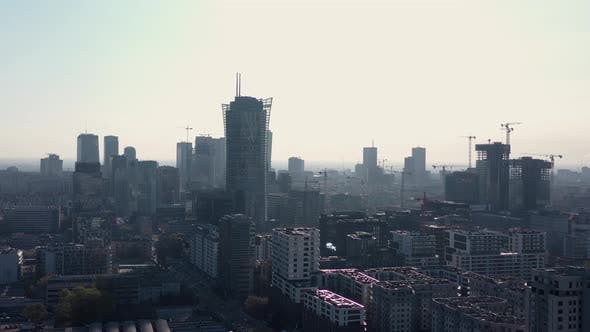 Thumbnail for View From the Height on Warsaw Business Center, Skyscrapers, Buildings and Cityscape in the Morning