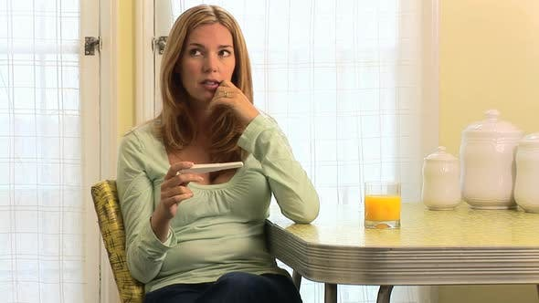 Thumbnail for Unhappy pregnant woman with birth control test