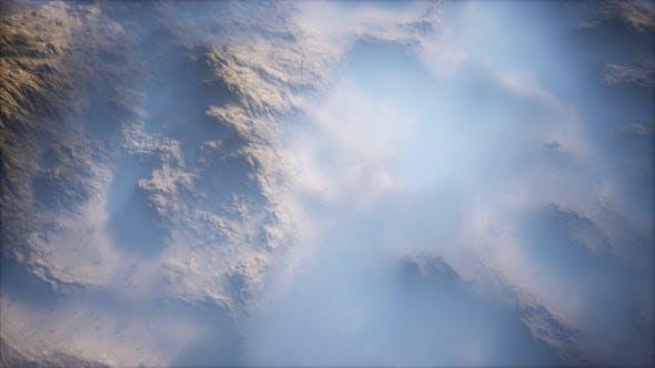 Distant Mountain Range Thin Layer Fog Valleys