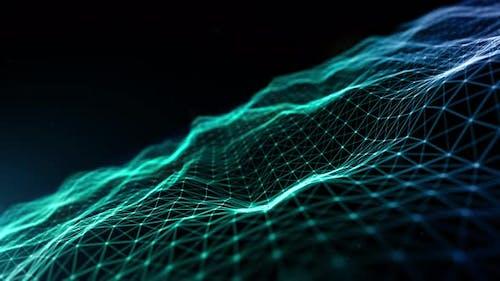 Blue Color Particles Wave Flowing 953