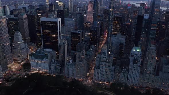 Thumbnail for Manhattan Skyline at Night with Flashing City Lights in New York City
