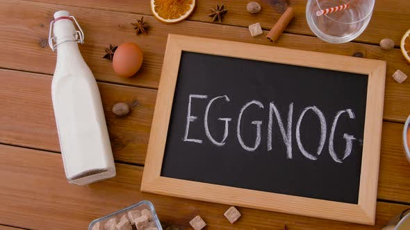Eggnog Word on Chalkboard, Ingredients and Spices