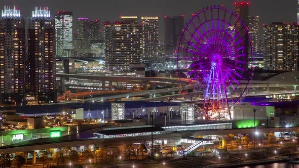 Thumbnail for Timelapse Tokyo Road Between River Water and Ferris Wheel