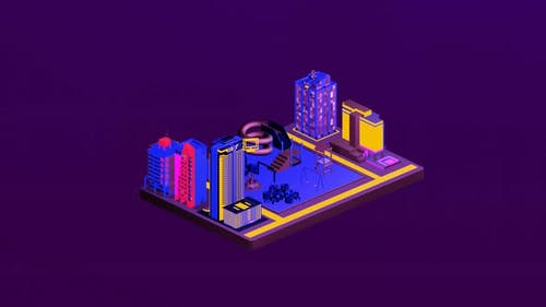 Isometric children's playground between cities