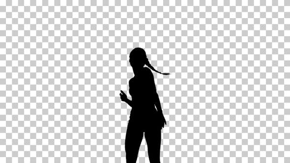 Silhouette  girl walking , Alpha Channel
