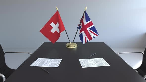 Flags of Switzerland and the United Kingdom