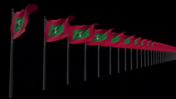 Row Of Maldives Flags With Alpha 2K
