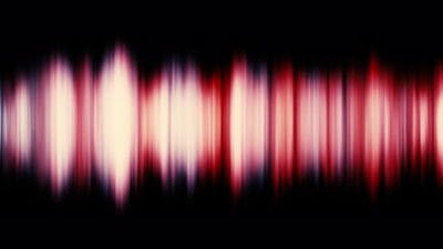 Red sound wave and audio equalizer effect