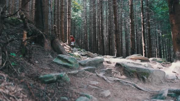 Thumbnail for Tourist with a Backpack Goes Down the Stone Mountain Trail in the Forest.
