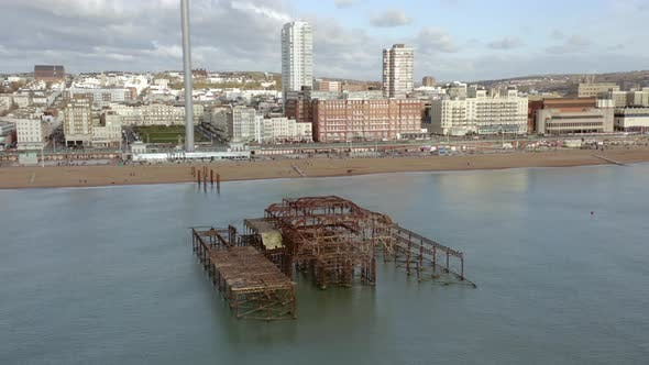 Brighton Beach in the UK with the Remains of the West Pier in the Summer