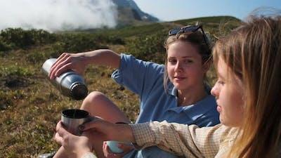 Hot Tea After Mountain Hiking