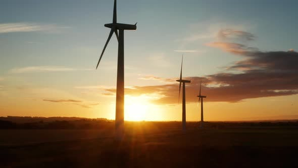 Thumbnail for Sunrise at a wind farm