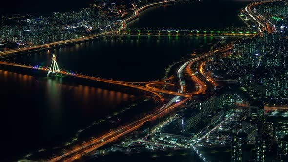 Thumbnail for Timelapse Large Seoul River Separates City Districts