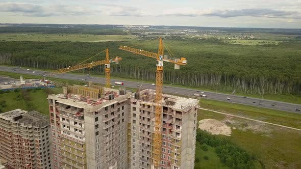 Drone Fly Over Construction New Modern Building Work Builders and Technicals