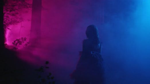 A Girl in a Beautiful Dress is Walking Through the Night Forest