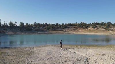 Drought Pond Man Walking Landscape