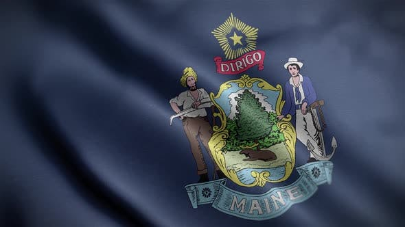 Maine State Flag Close Up HD