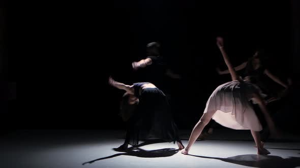 Thumbnail for Contemporary Dance Moves of Five Dancers on Black, Shadow